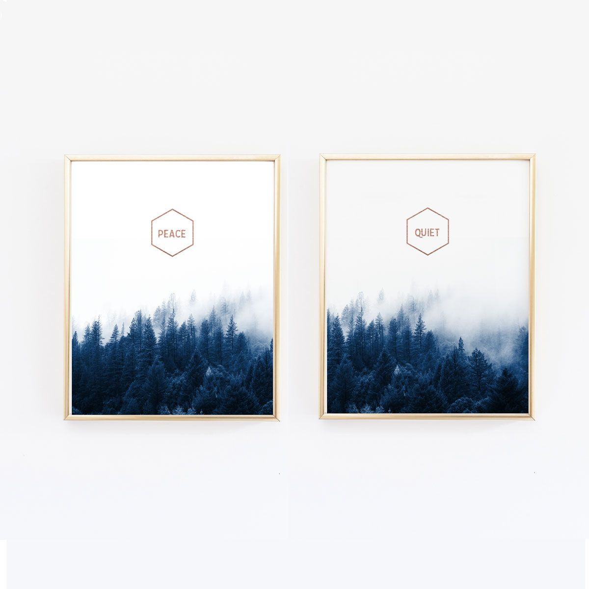 Master bedroom artwork  Forest Wall art Navy and Copper Print Peace and Quiet Master