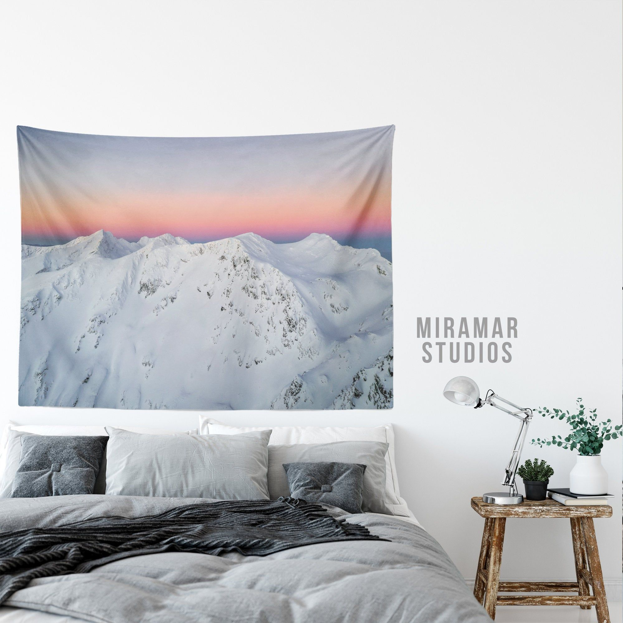 Mountain Wall Tapestry Scenic Mountains Tapestry Winter Tapestry