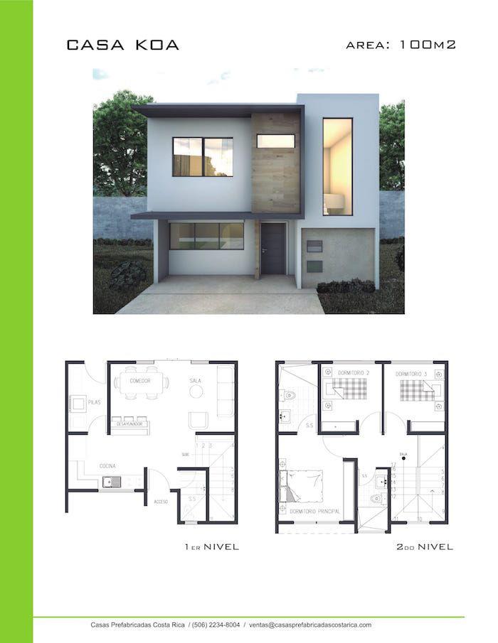 Casa koa 100m2 casas pinterest casas peque as for Planos de casas minimalistas de dos pisos