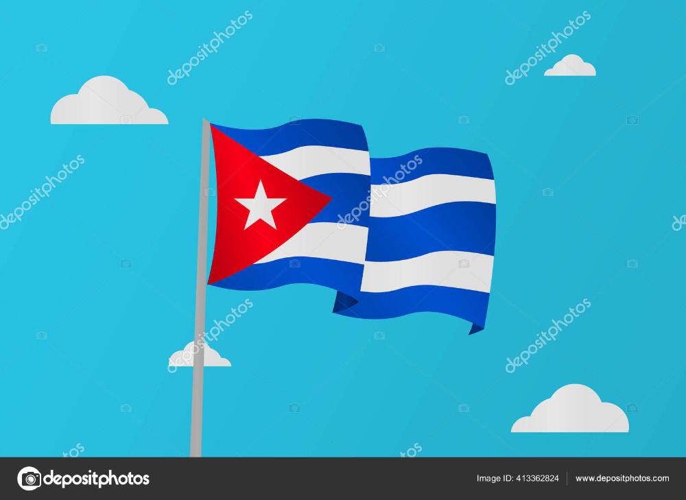 Mengilustrasikan Bendera Cuba Melambai Di Langit Biru Stok Ilustrasi Seni Vektor Seni Langit Biru