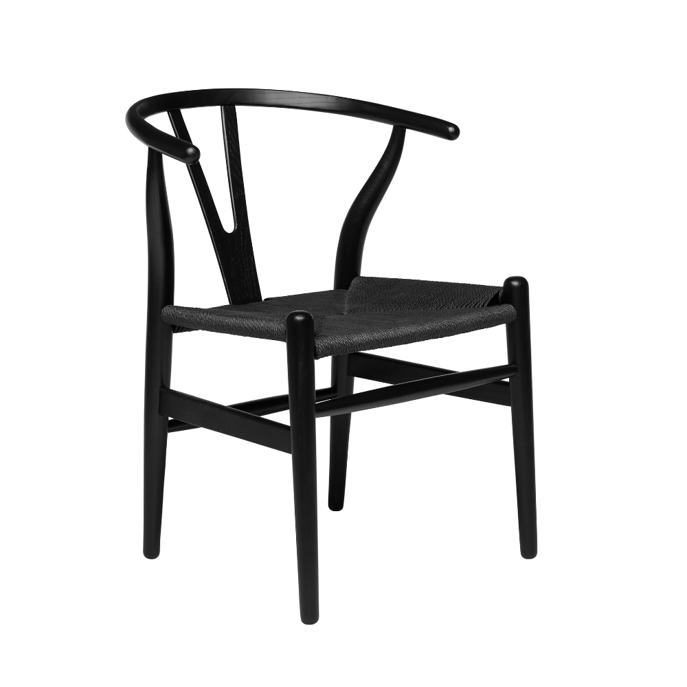 Wishbone Chair (Black/Black Woven Cord) (With images