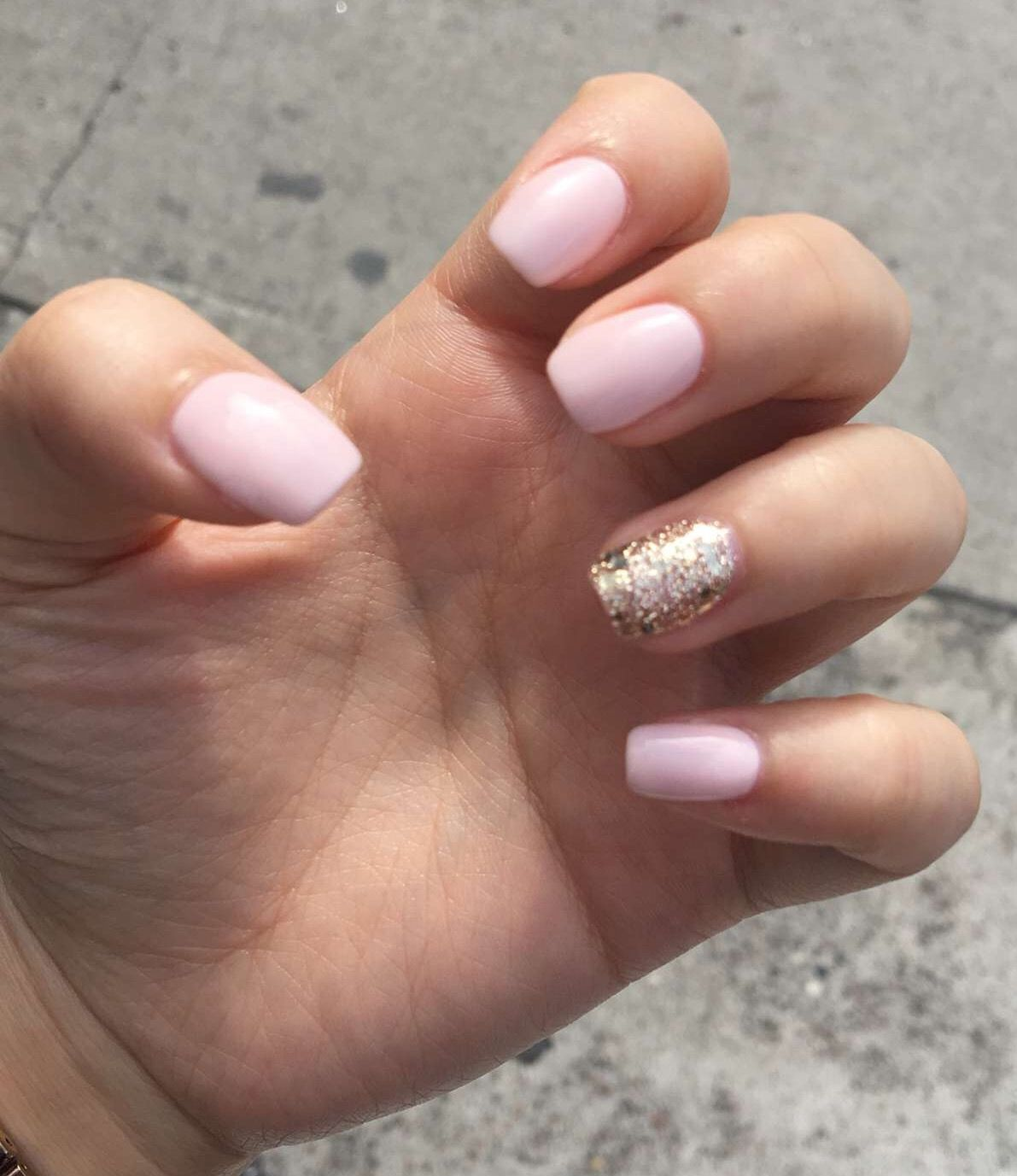 Light Pink With Gold Glitter Gel Nails Wedding Nails Glitter Gold Gel Nails Pink Wedding Nails