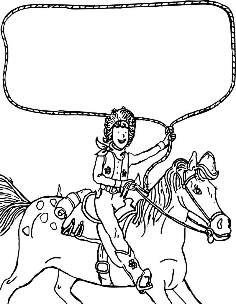 Go West Amelia Bedelia On The Horse Coloring Page (With