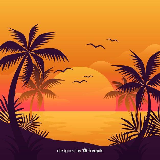 Beach Sunset Landscape Background Free Vector Free Vector Freepik Vector Freebackground Freetree Freesum Drawing Sunset Sunset Painting Sunset Landscape