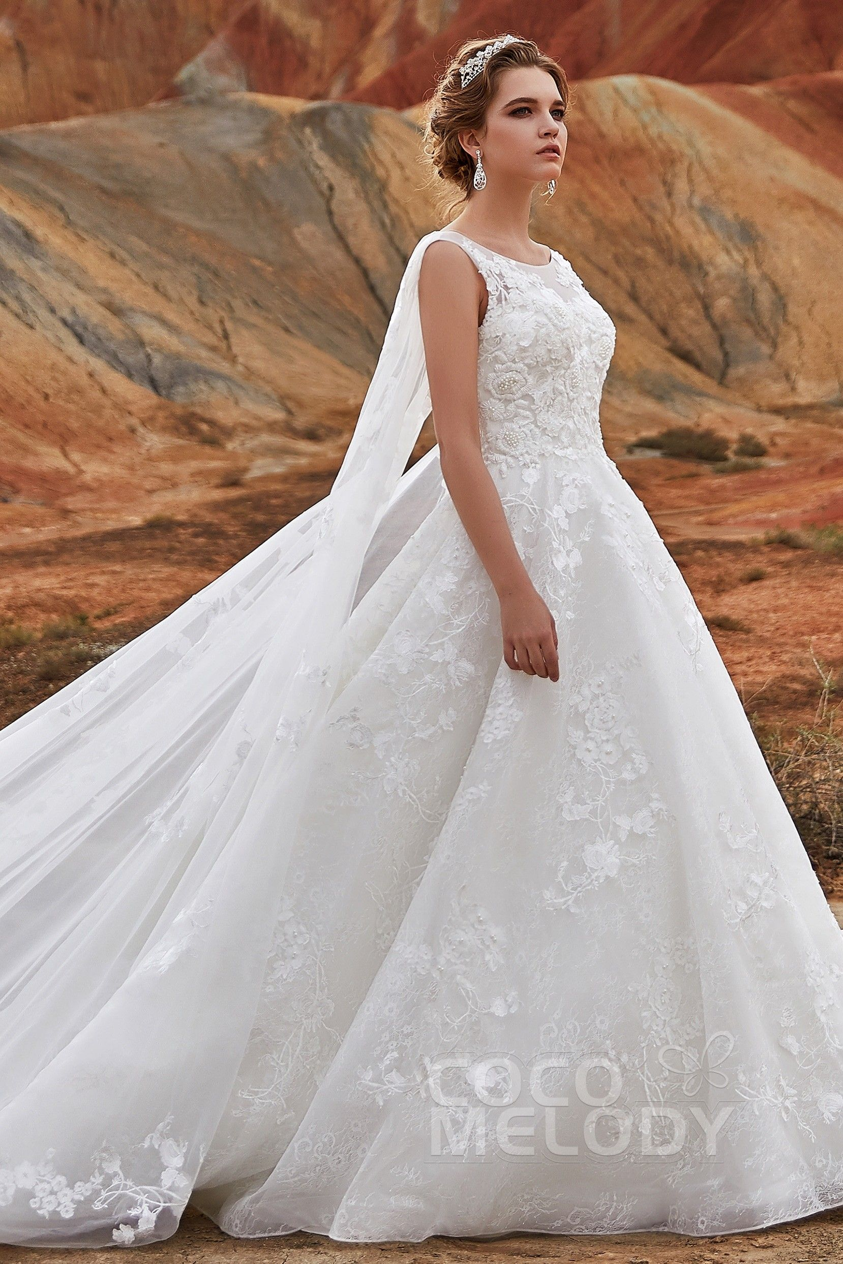 ALine Cathedral Train Lace Wedding Dress LD5766 Lace