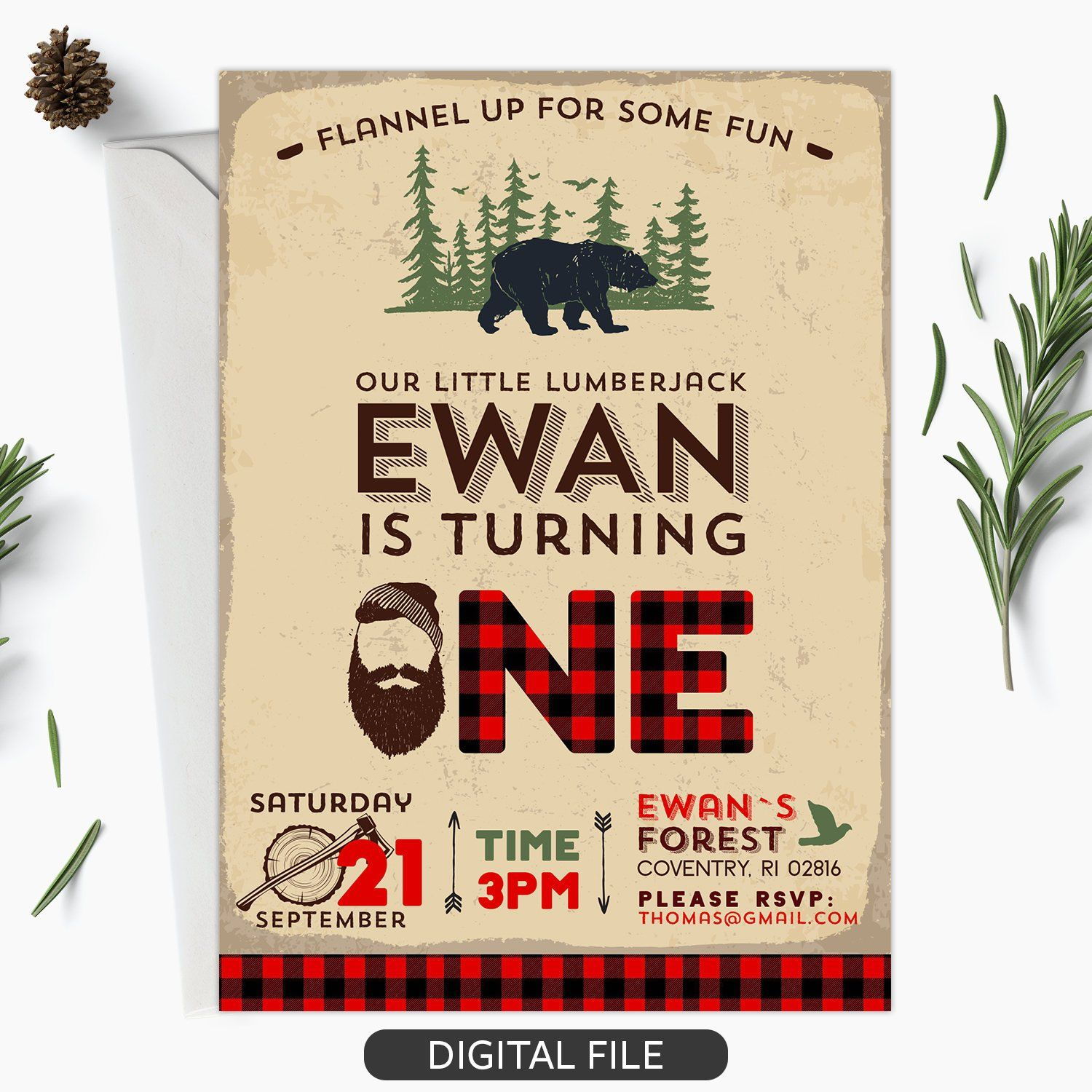 Lumberjack Birthday Invitation DIY Lumberjack First ...