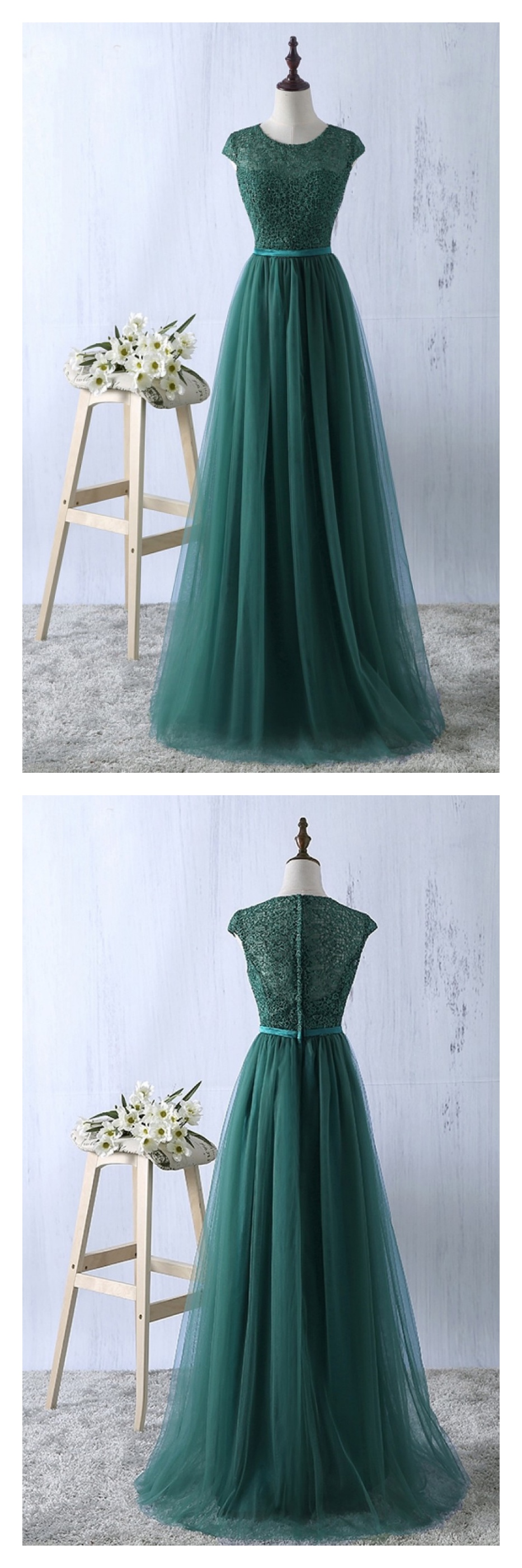 Emerald green prom dress  ALine Green Round Neck Cap Sleeves Long Prom DressED