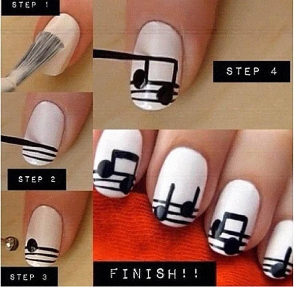 DIY Music Notes Nail Art | Things I love | Pinterest | Uñas ...
