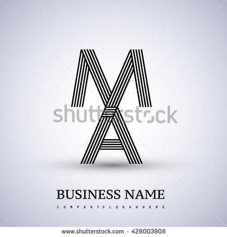 Letter Ma Or Am Linked Logo Design Elegant Letter Symbol Vector