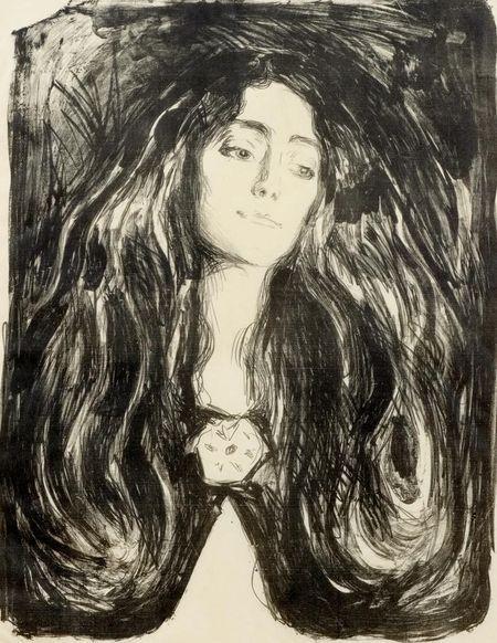 Edvard Munch, The brooch. Eva Mudocci. 1903.