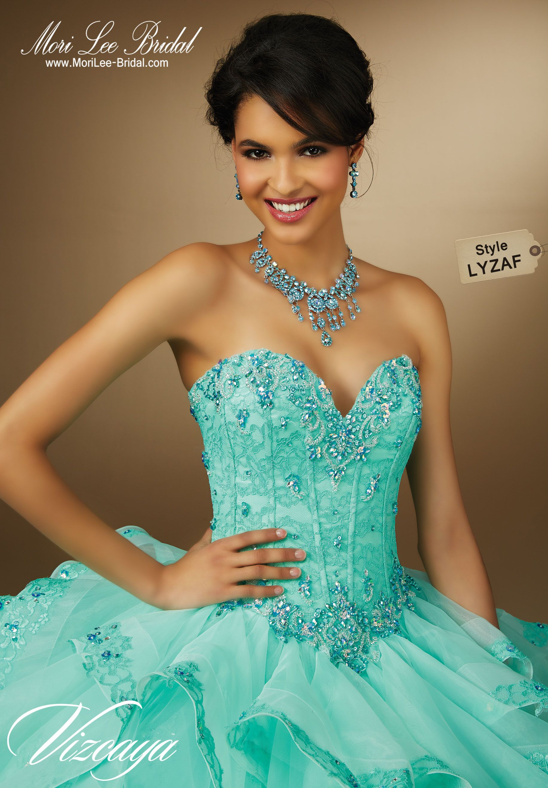 Style LYZAF EMBROIDERY AND BEADING ON LACE WITH RUFFLED ORGANZA ...