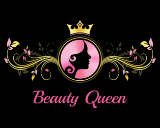 Beauty Queen Logo Design Luxurious Girly Logo Featuring Woman Face And Hair Silhouette In A Circle With Crown Above And Elegant Leaves Ornament By Left And R