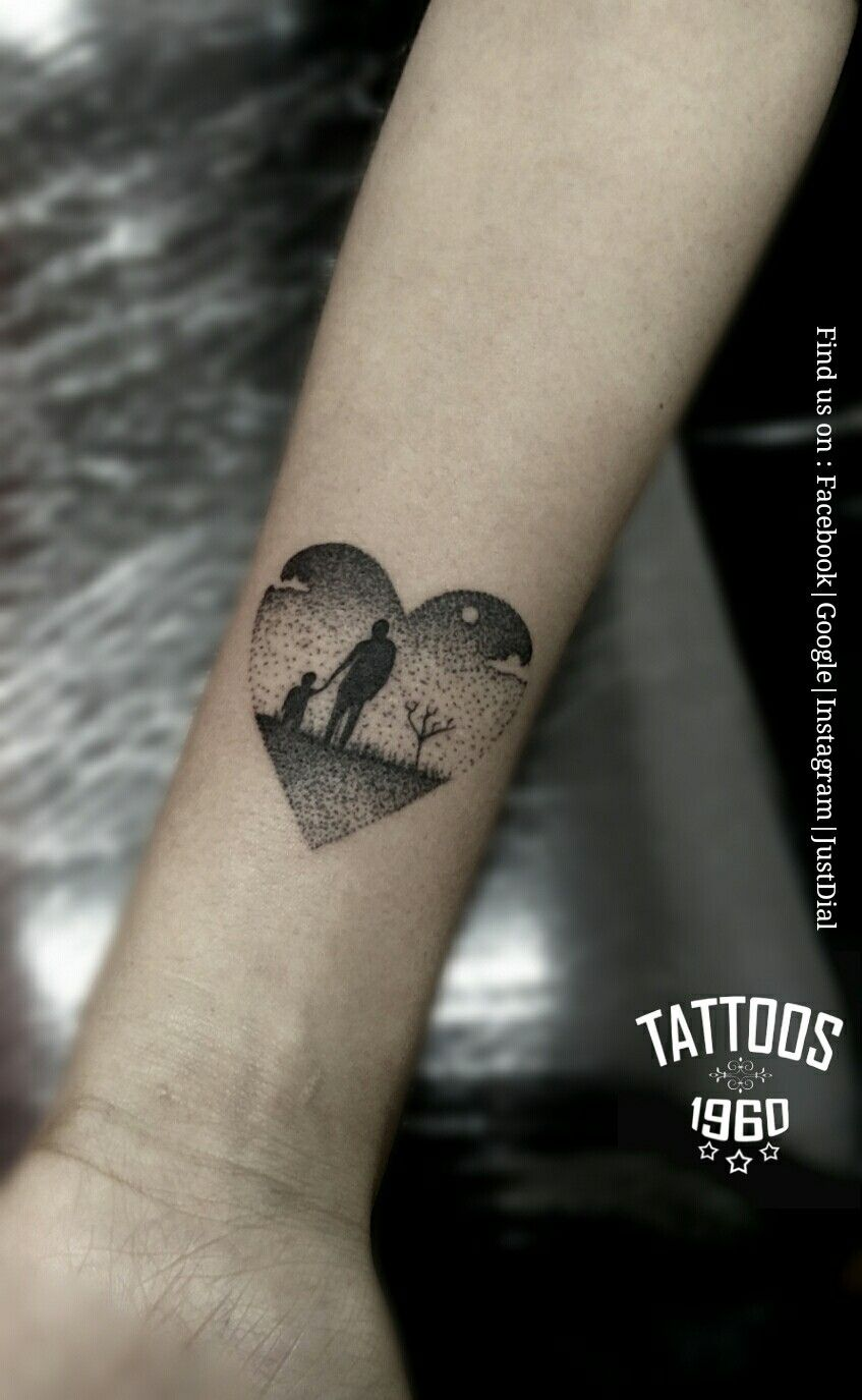 Dad Daughter Love Tattoo Family Small Cute Amazing Tattoos Designs Dotted Hinh Xăm Gia đinh Hinh Xăm Xăm
