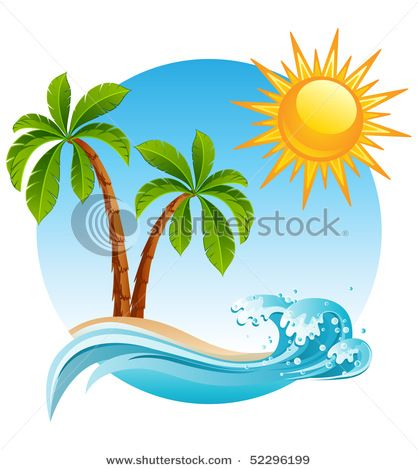 vector illustration two palm tree on the tropical island vector rh pinterest com  tropical beach clipart