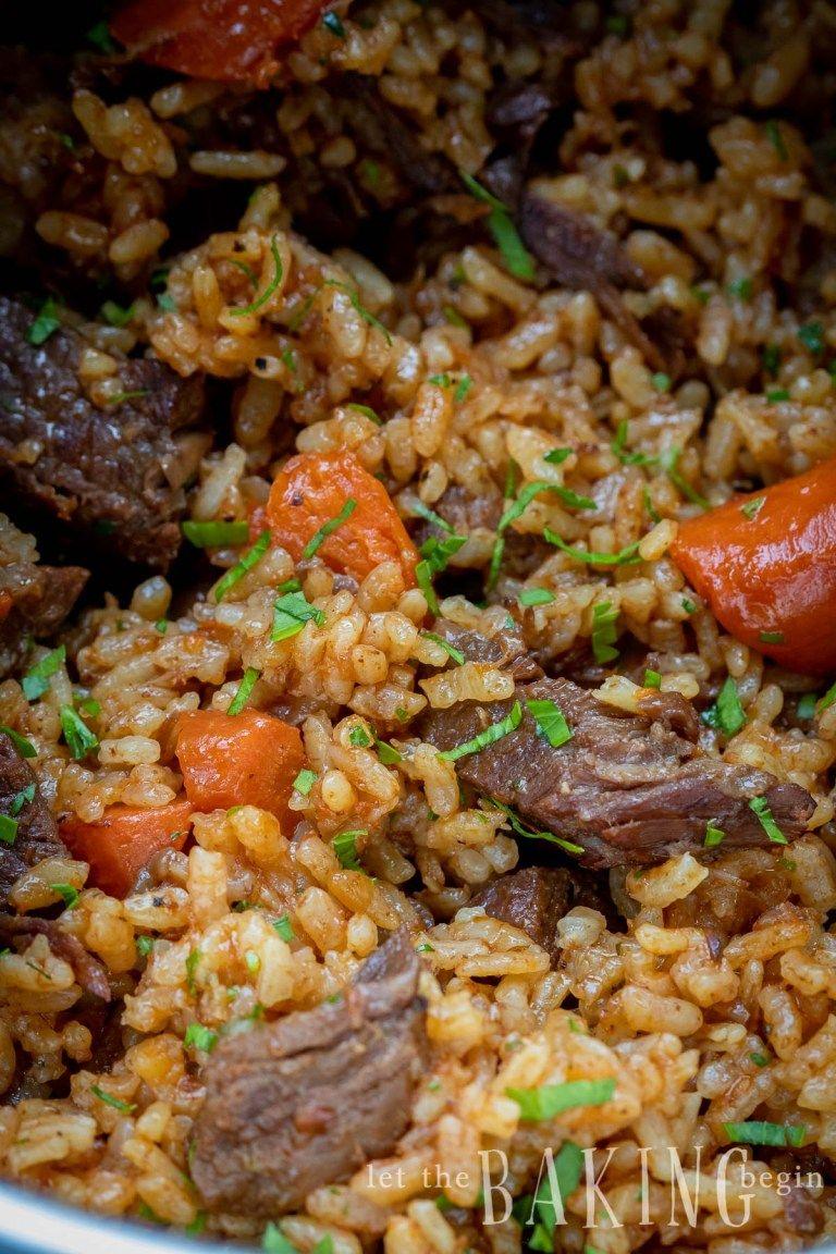 Instant Pot Beef Rice Pilaf (Plov) - Let the Baking Begin! #beefandrice