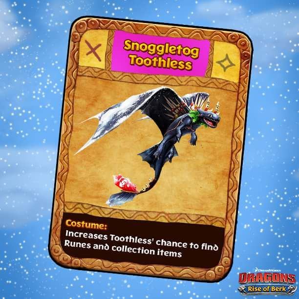 Dragons: Rise of Berk - Snoggletog Toothless Costume card