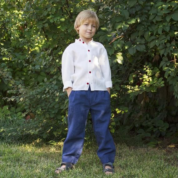Navy Blue loose linen pants boys. wide leg trousers kids. Children party wear outfit. Linen trousers #area51partyoutfit