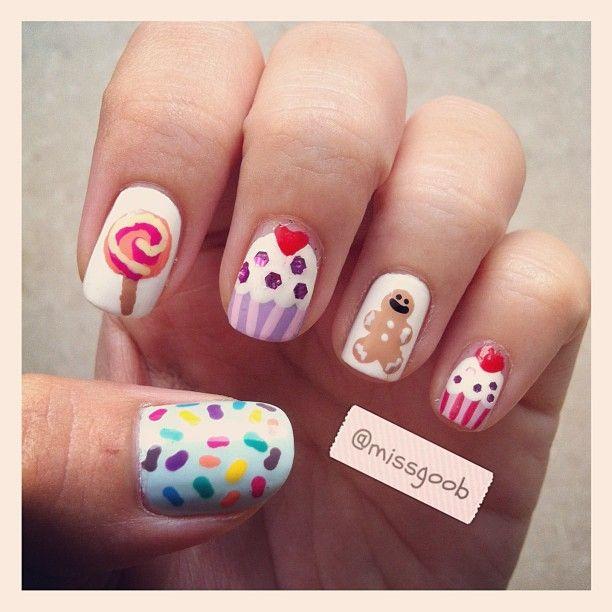 Sweet treats nail art! Rainbow sprinkles, lollipop, gingerbread man, cupcakes! :)