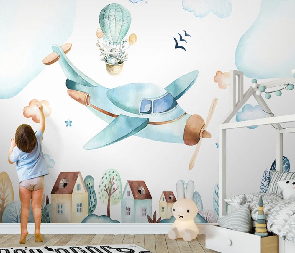 Kids Wallpaper Cartoon Village Wall Mural Watercolor Airplane Etsy Playroom Wallpaper Kids Room Wallpaper Nursery Wallpaper
