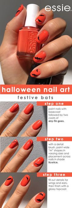 get this spooky bat nail art look for halloween with essie shades 'any fin goes' and 'licorice'.