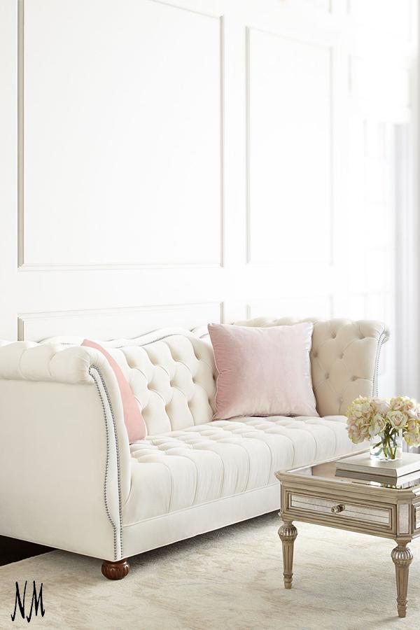 Haute House Gigi Tufted Sofa Home Living Room Pillows Tufted Sofa