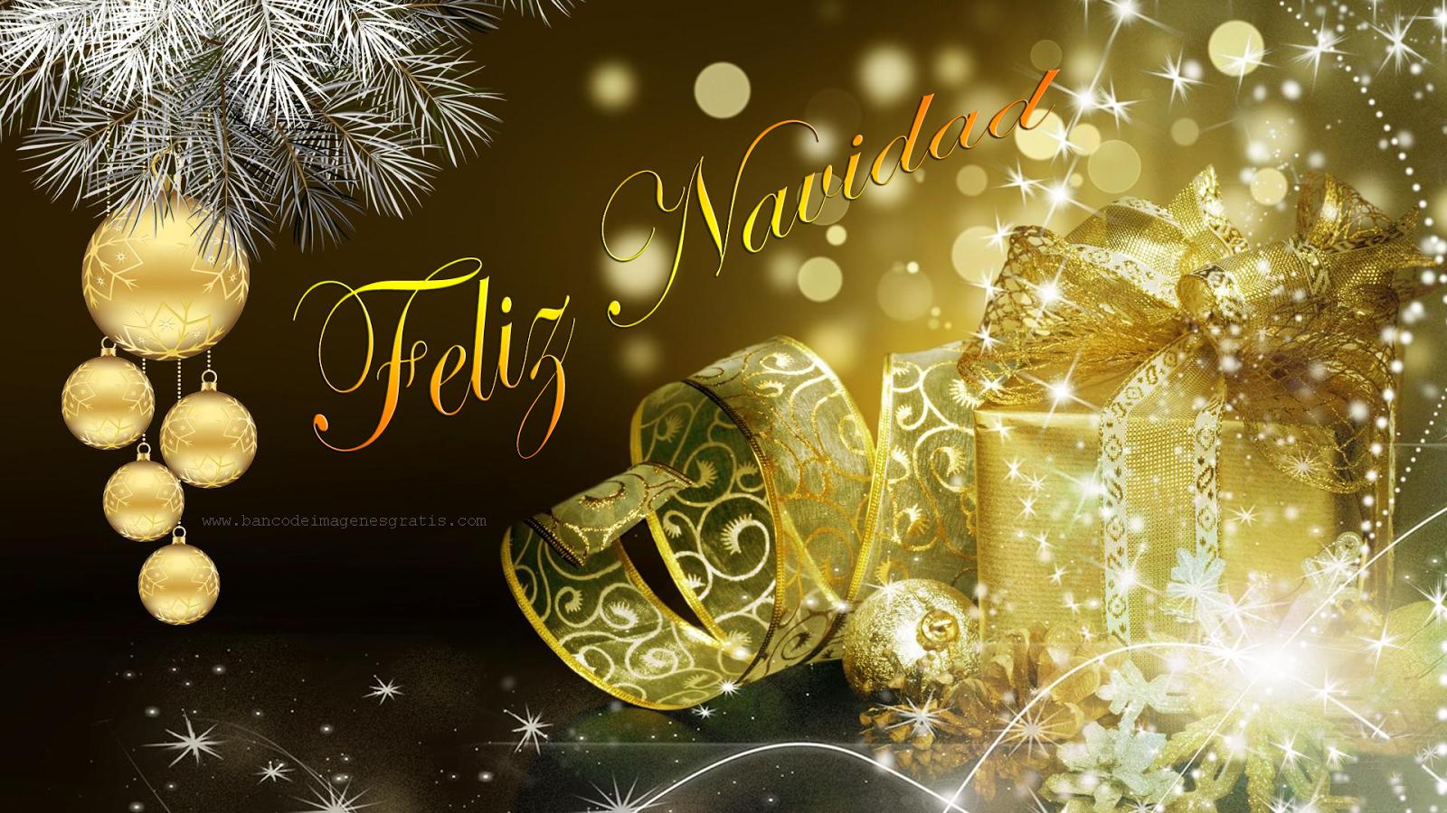 Postal Navidena Con Esferas Y Adornos Dorados Golden Christmas Imagenes De Feliz Navidad Imagenes Navidenas Feliz Navidad