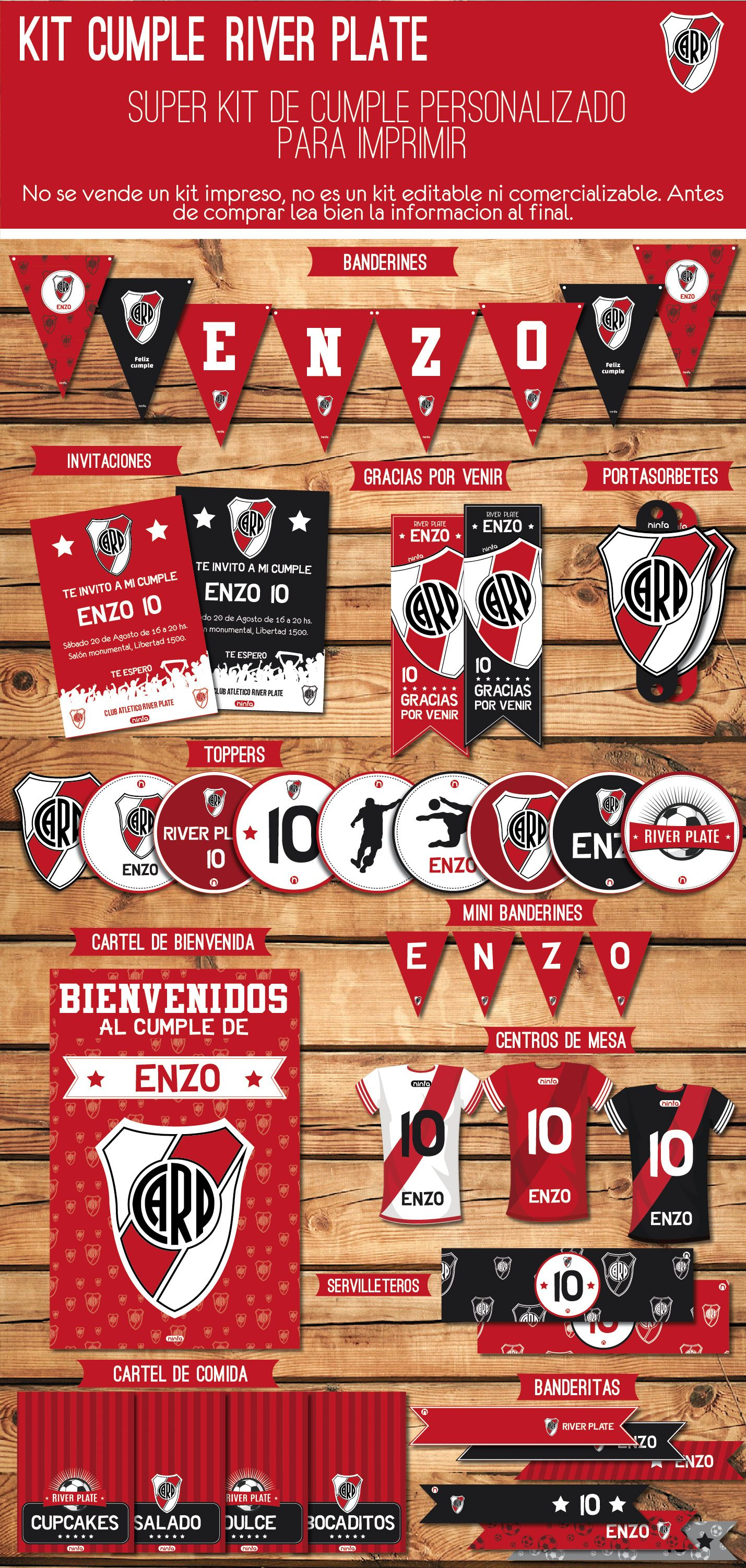 River Decoracion Cumple Futbol Kit Fiesta Invitaciones