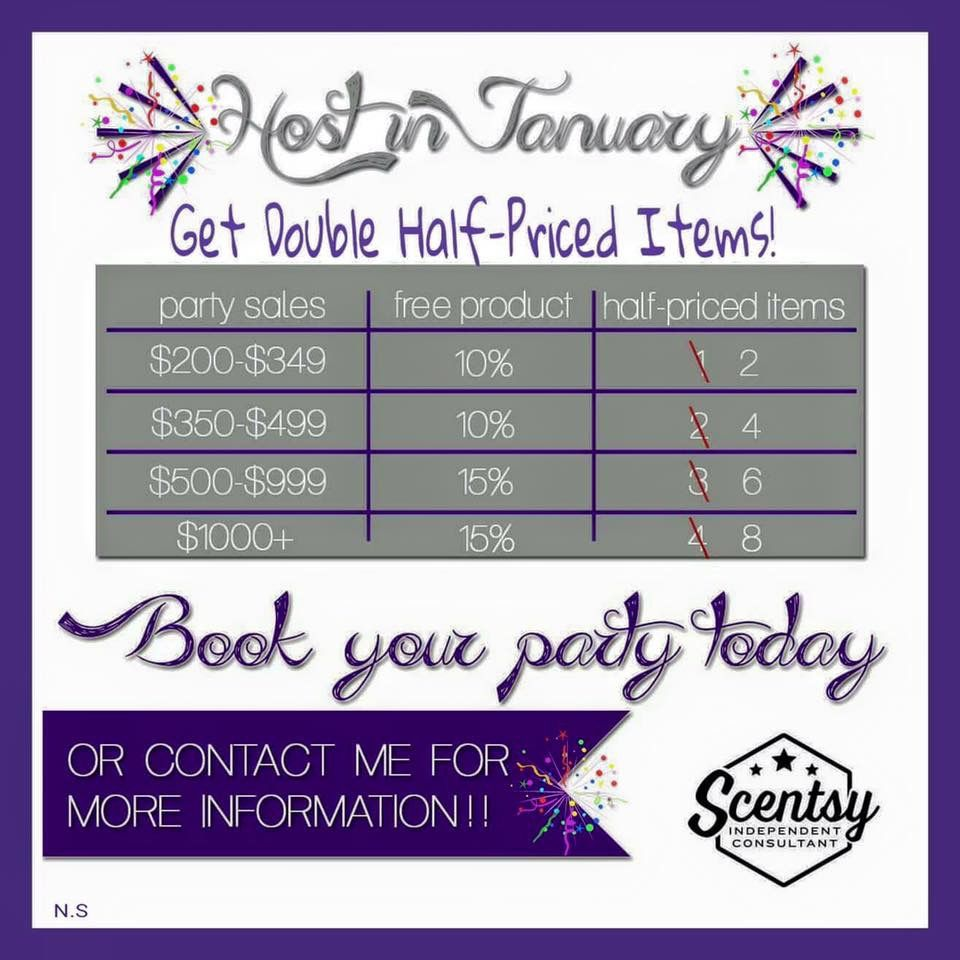 January 2016 Host Rewards  msheather.scentsy.us or email me Holli.gilbert87@yahoo.com #scentsy #wickless