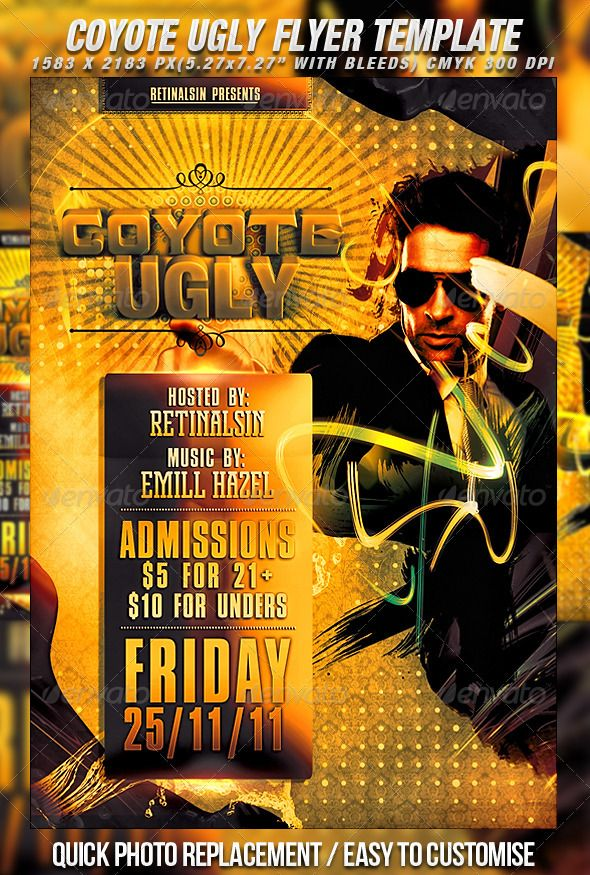 Coyote Ugly Flyer Template Photoshop Psd Club Flyer Party