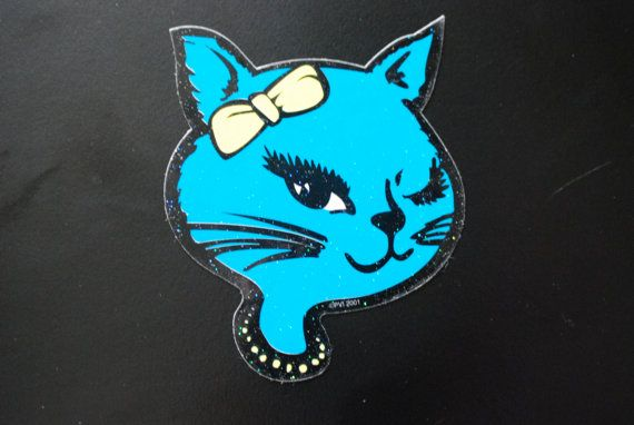 Winking glitter cat sticker retro vending 80s 90s cool sexy bad lucky kitty