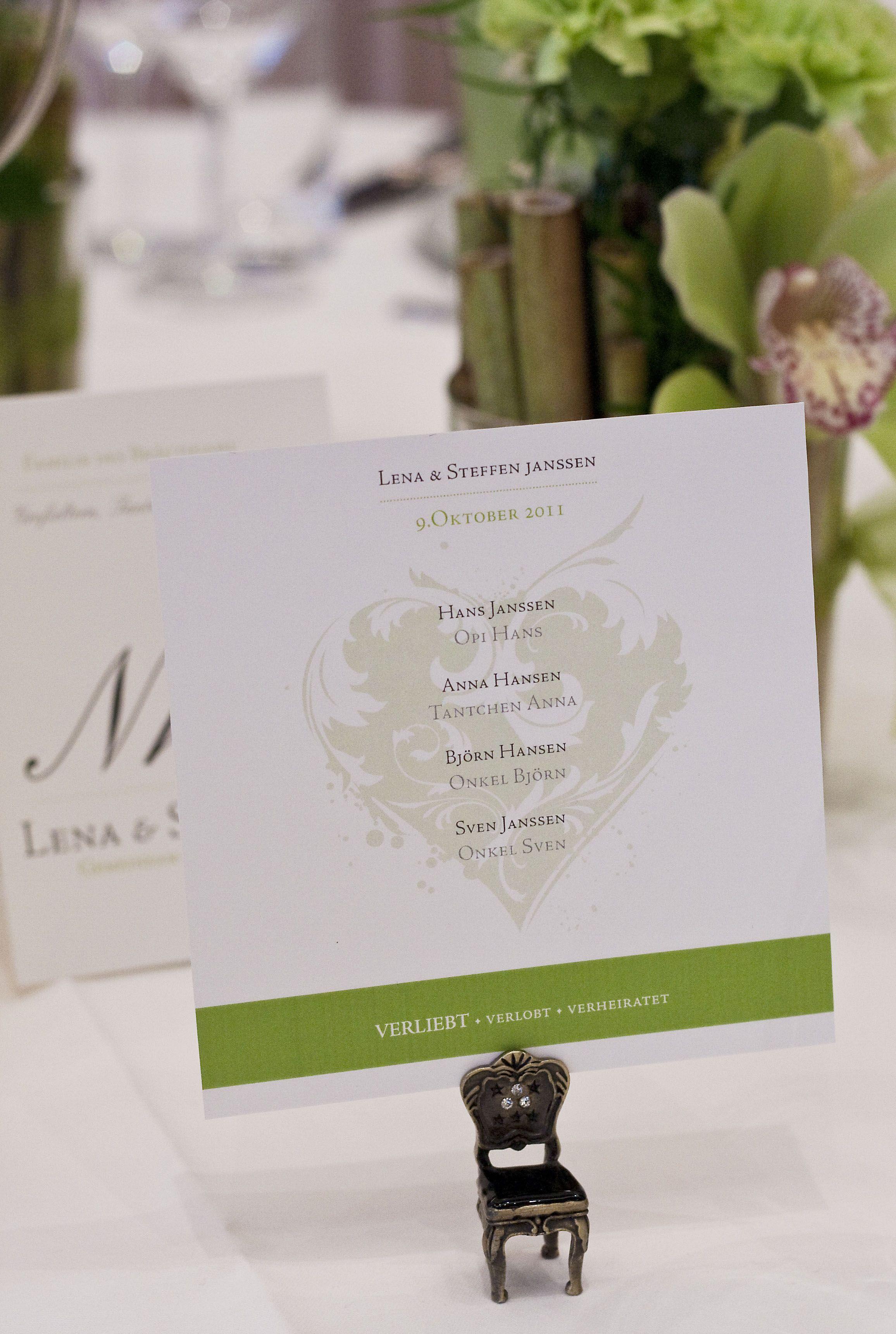 Tischkarte für die Hochzeitsgäste. Tischdekoration für die Hochzeit.