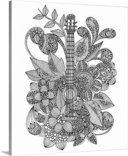 Customize Any Dorm Room With This Cool Guitar Coloring Canvas By Valentina Ramos Available For Purchase At Canvasonde Coloring Canvas Mandala Design Art Color