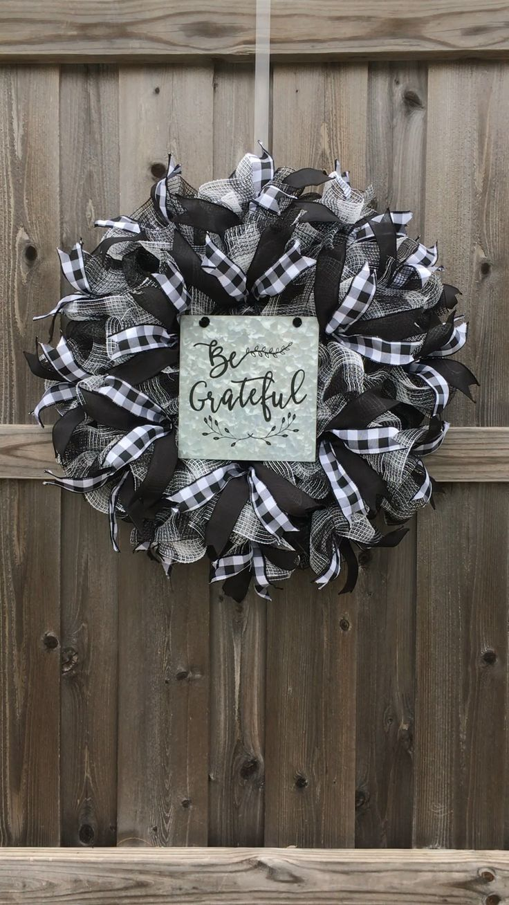 Be Grateful Fall Buffalo Check Wreath, Farmhouse W