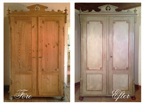 Wardrobe, Swedish country style. Before and after. Chateau Grey, Original, Primer Red, clear and dark wax.
