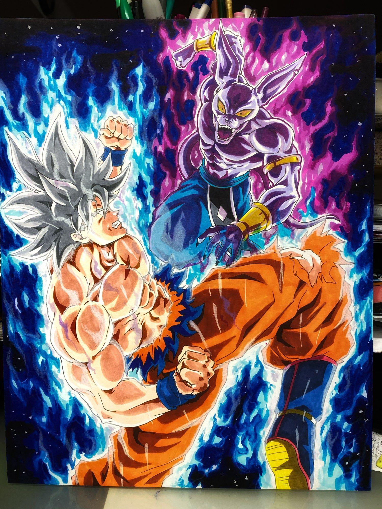 Mui Goku Vs Full Power Beerus Unic Artwork Dragon Ball Artwork Anime Dragon Ball Super Dragon Ball Art