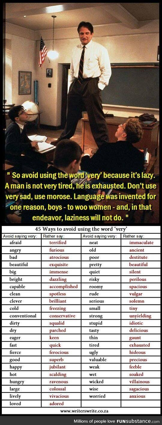 here s a quick brilliant cheat sheet to avoid using the word ldquo very dead poets society very is