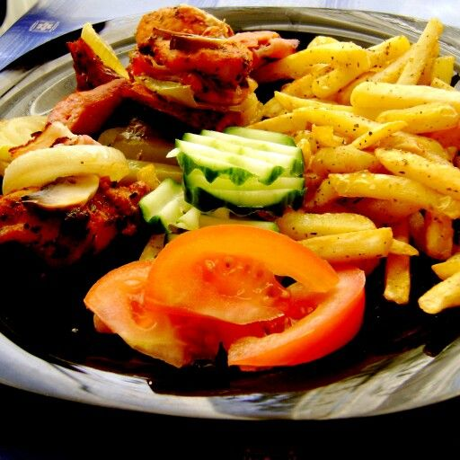 Grilled meat and fries