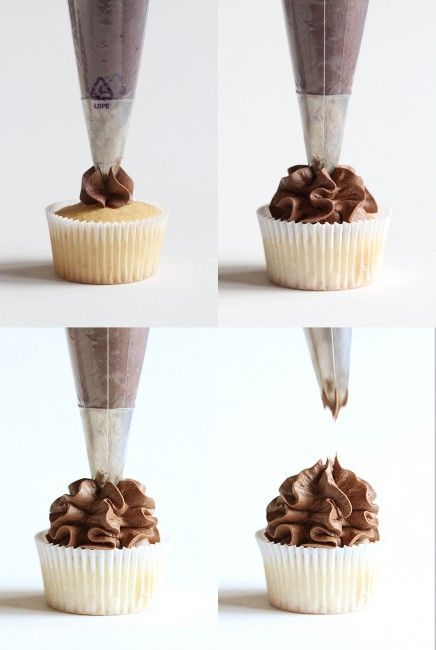 Four easy ways to frost a cupcakes with an open star tip for Star decorating tip