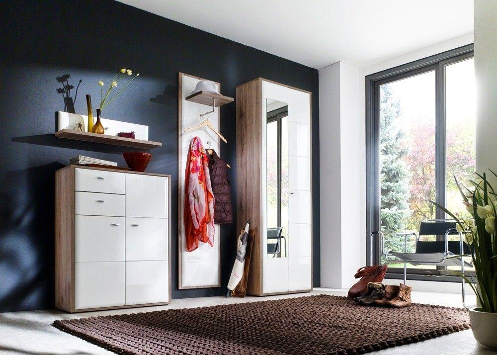 Garderobe komplett Comino Weiß Eiche Rustik 20805 Buy now at