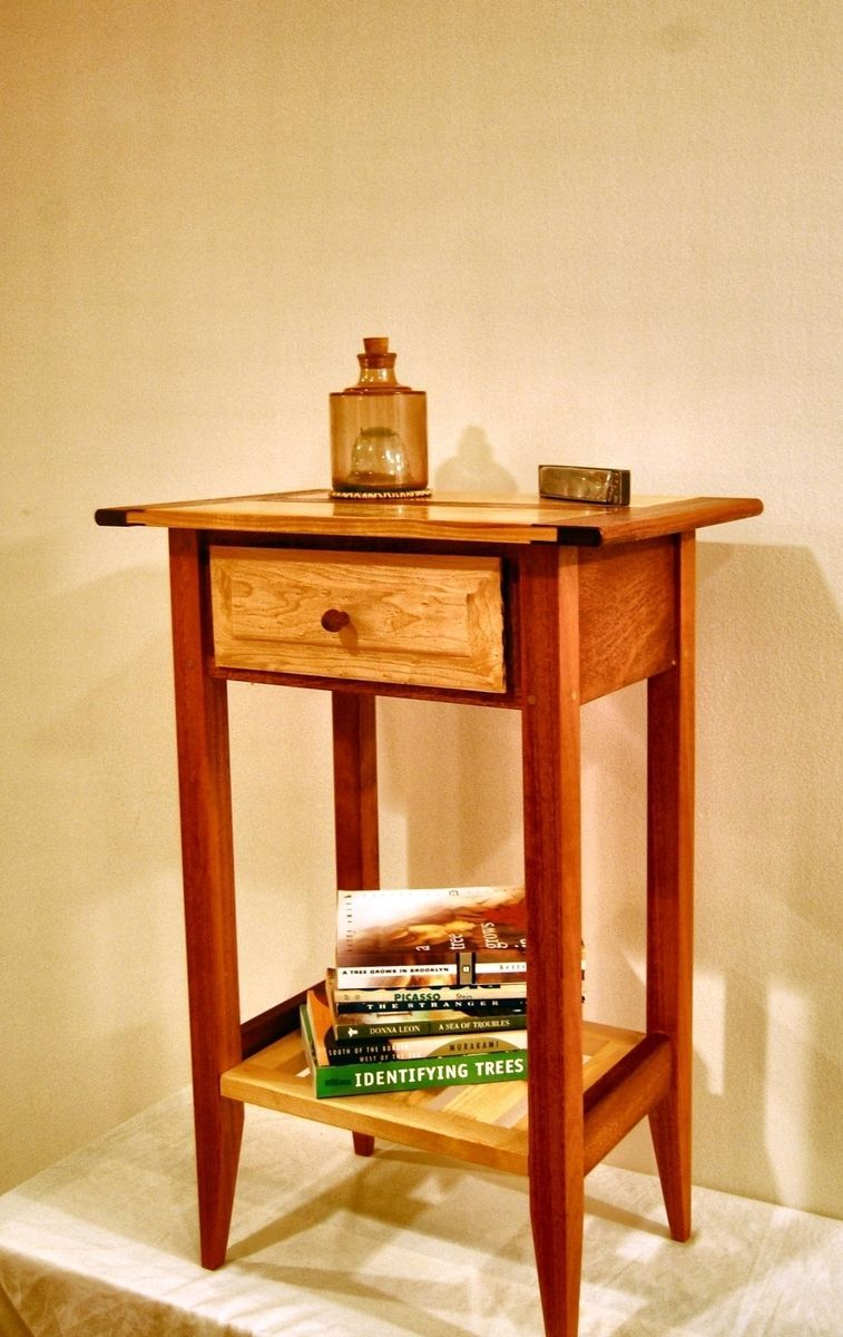 Shaker Style Mahogany And Maple Nightstand With Drawer And Shelf Shaker Furniture Shaker Style Hardwood Table