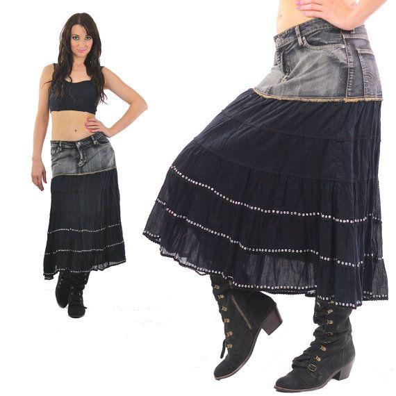 e9e54f46e Denim Skirt 90s Acid wash Jean Grunge Vintage 1990s High waisted black  Color block Tiered Ruffle Seq