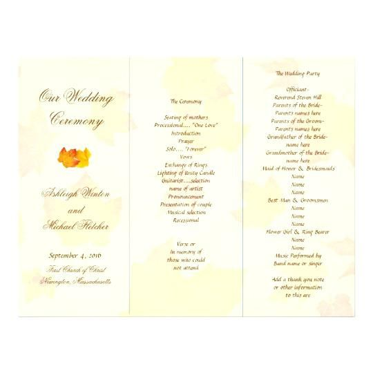 tri fold wedding program template z fold wedding programs tri fold