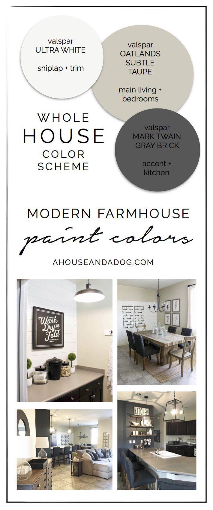 Whole house color scheme modern farmhouse paint colors - Whole house interior paint palette ...