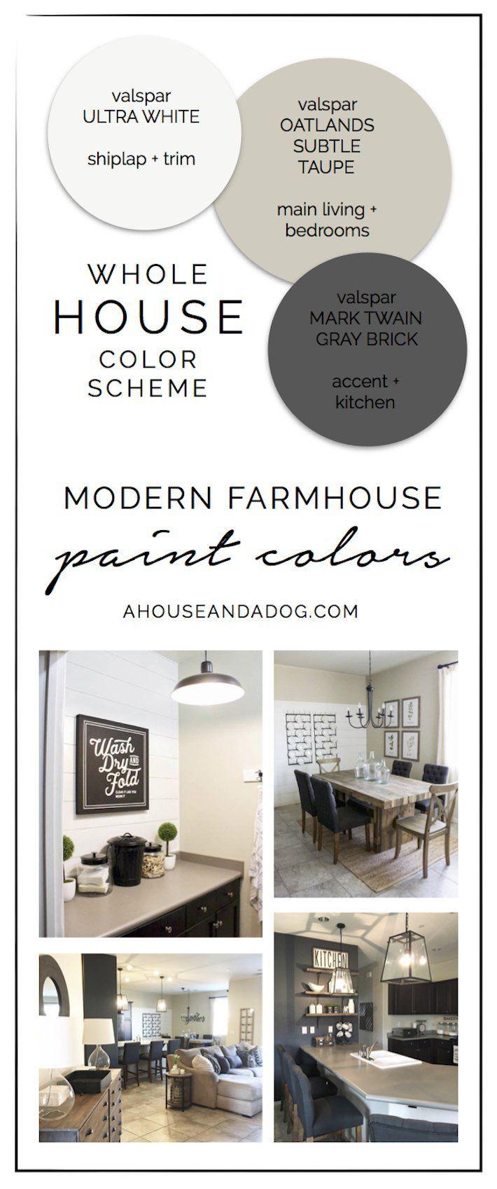 Whole House Color Scheme Modern Farmhouse Paint Colors Ahouseandadog Com Farm House Colors House Color Schemes Farmhouse Color Scheme