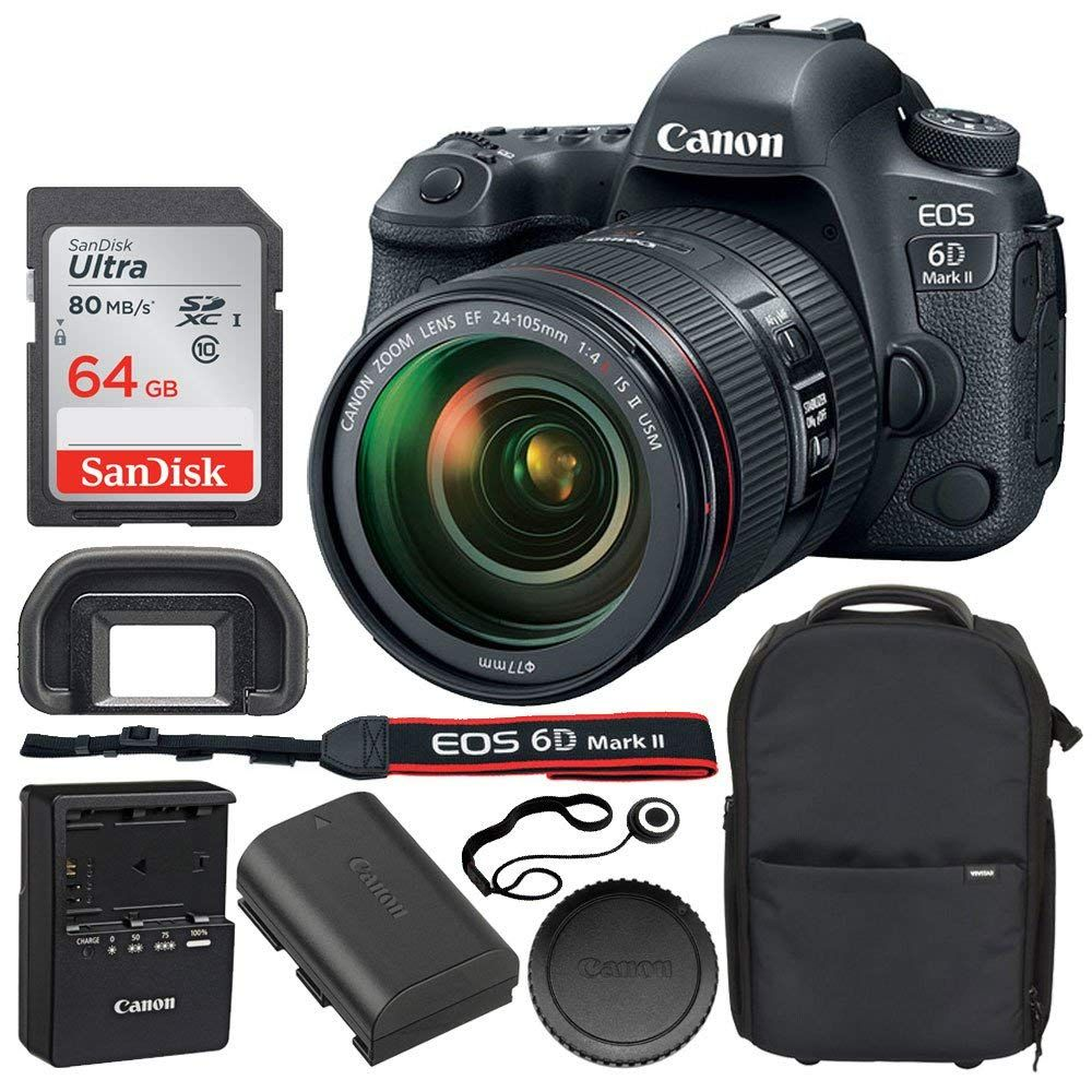 Canon Eos 6d Mark Ii Digital Slr Camera Canon Ef 24 105mm F 4l Is Ii Usm Lens 64gb Sdxc Memory Card Vivitar Series 1 T Canon Eos Dslr Camera Canon Camera