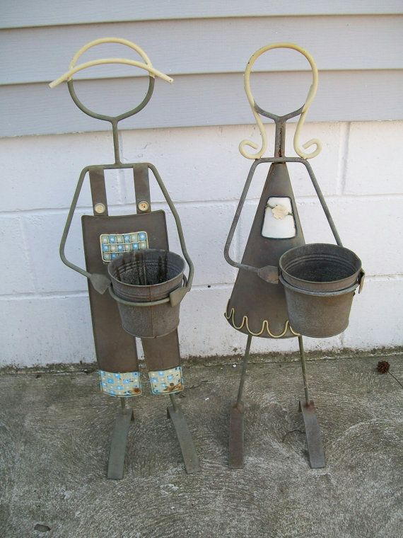 Worn Metal Plant Stand Girl Amp Boy Flower Pot Holder Garden