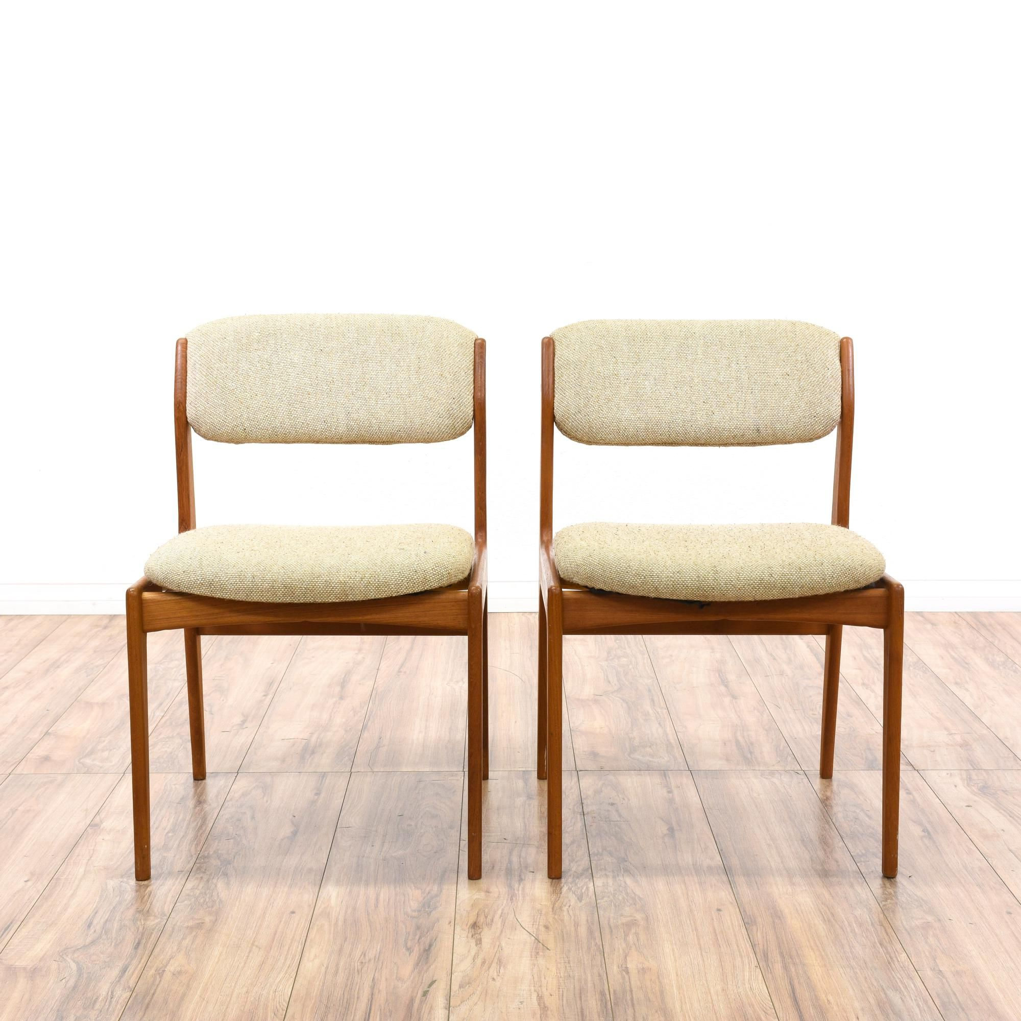Pair Of Benny Linden Danish Modern Dining Chairs Upholstered Dining