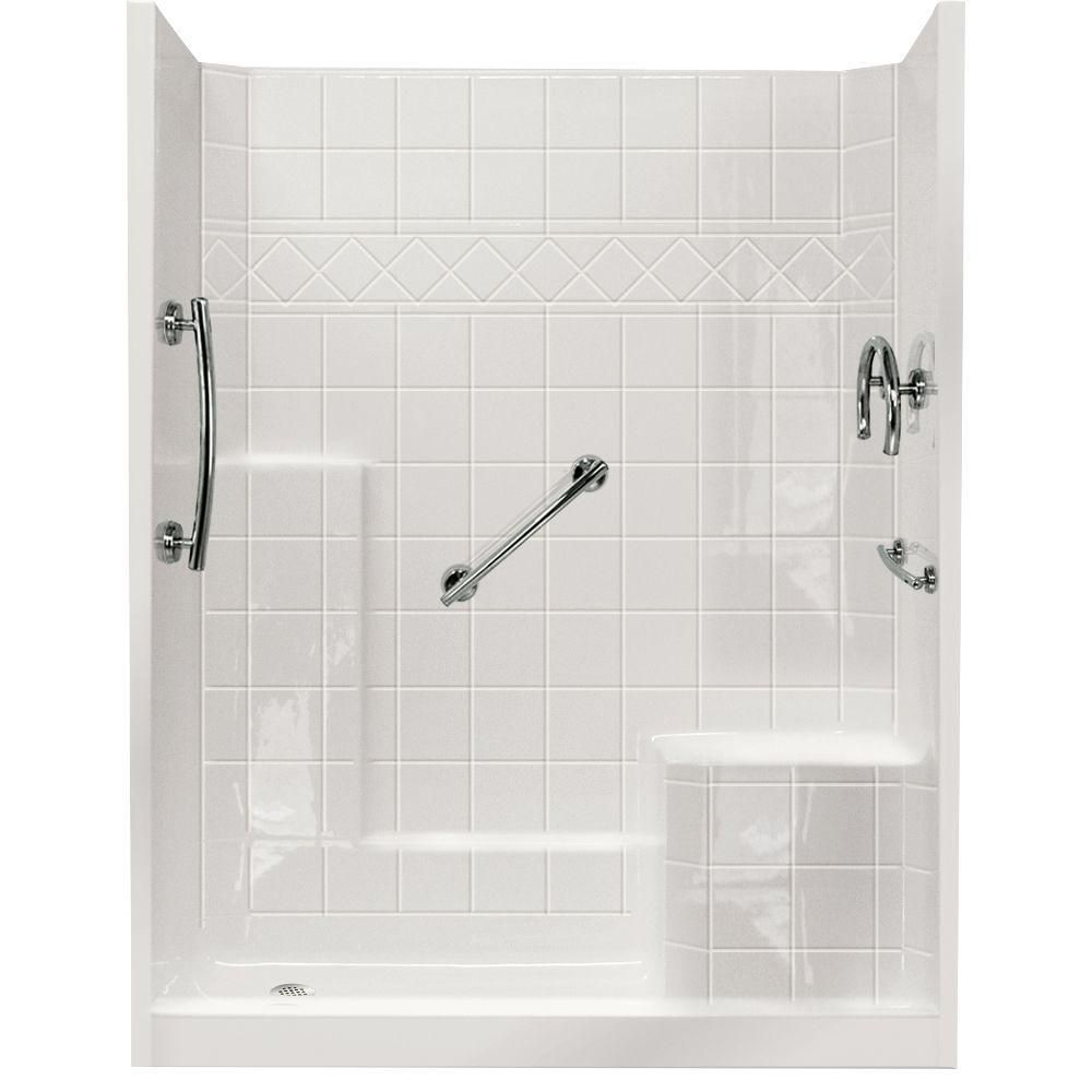 Ella Freedom 32 in. x 60 in. x 77 in. 3-Piece Low Threshold Shower ...