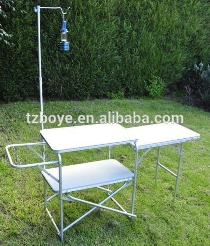 Folding Camping Kitchen Table With Lantern Post Buy Folding Camping