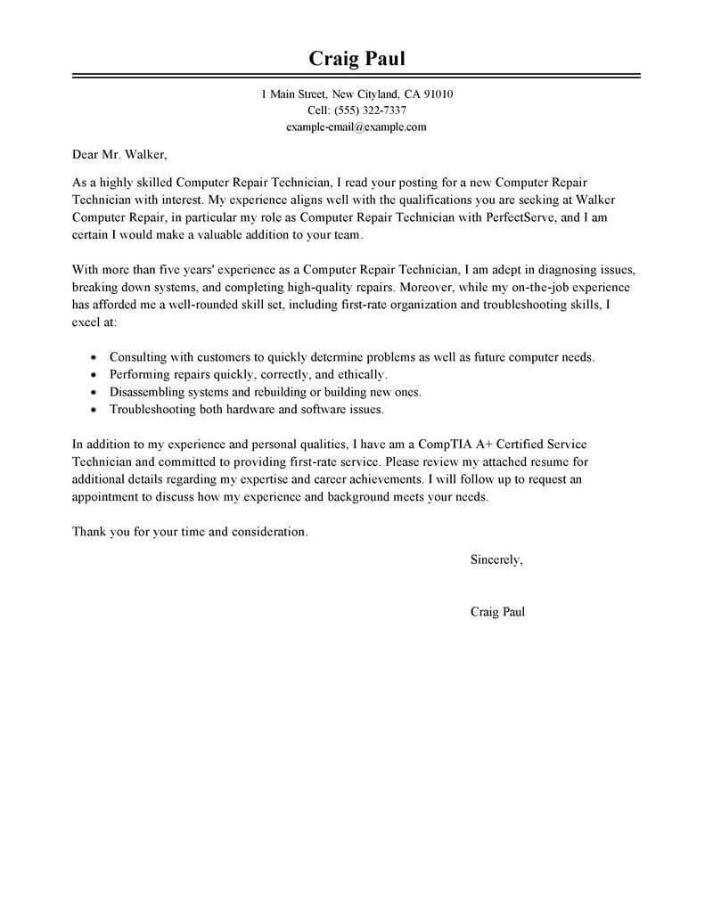 best computer repair technician cover letter exles livecareer   News ...
